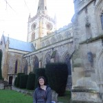Standing outside the church where Shakespeare rests